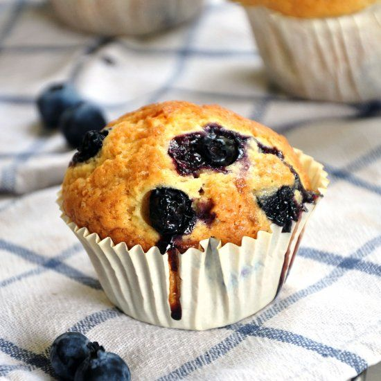 Embrace blueberry season with these blueberry muffins! They're filled with blueberries and are super light and fluffy.
