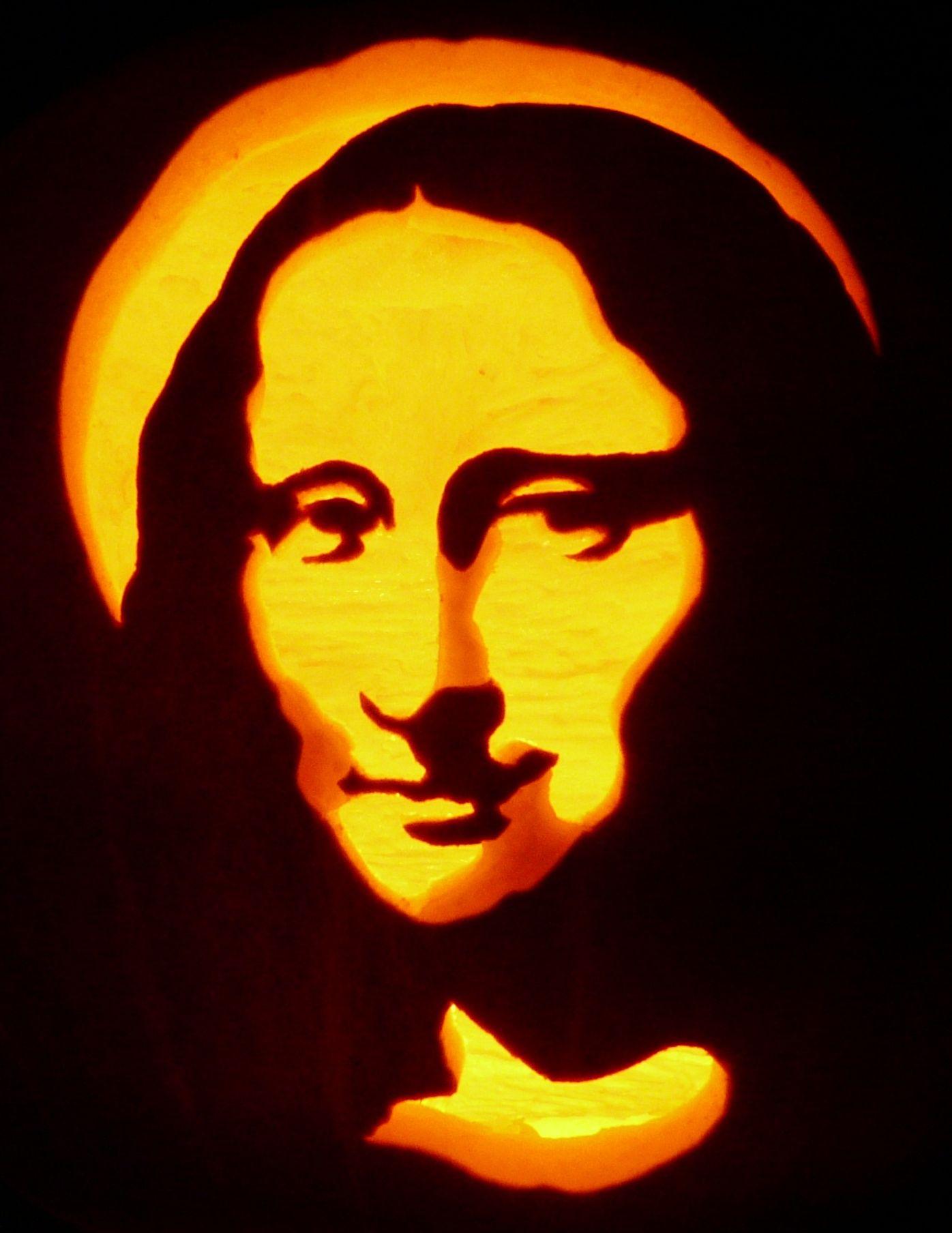 carved pumpkin mona lisa pattern by pumpkinglow com pumpkin