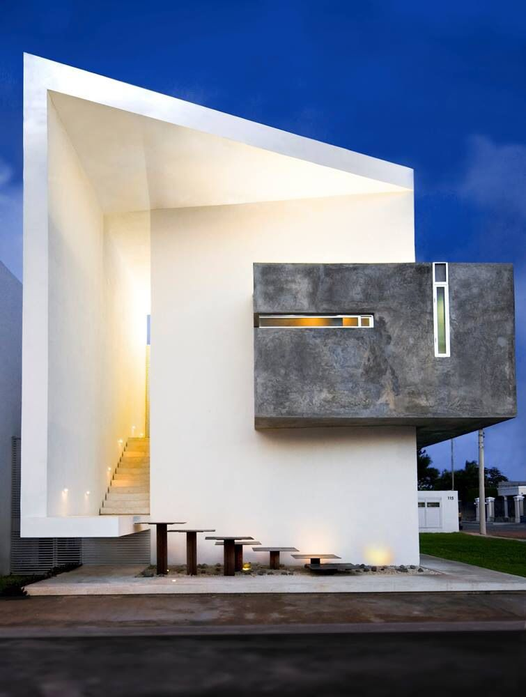 Ultra Modern Architectural Designs, White Painted Futuristic House, Shadows  Create Form And Tone, Also A Grey Outer Section Of House On The Side