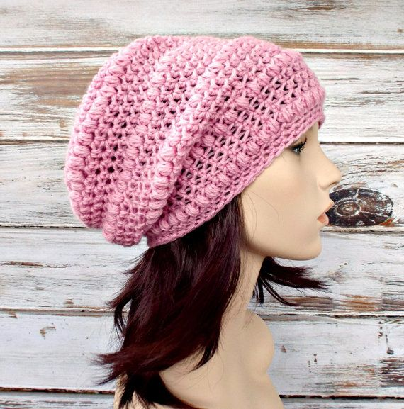 9920ef97fb67c3 Pink Womens Hat - Penelope Puff Stitch Slouchy Beanie Hat Raspberry ...