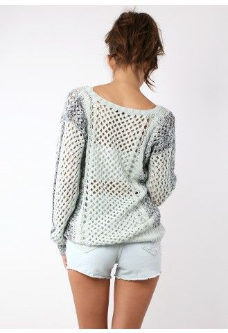 Light Mint Open Yarn Knit Cable Jumper by Chic+