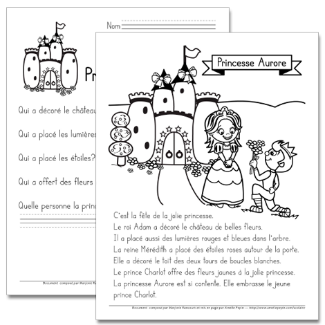 la princesse aurore 1re ann e fran ais 3 french worksheets teaching french french classroom. Black Bedroom Furniture Sets. Home Design Ideas