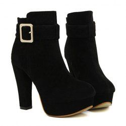 $17.23 Trendy Women's Short Boots With Black Chunky Heel and Buckle Design