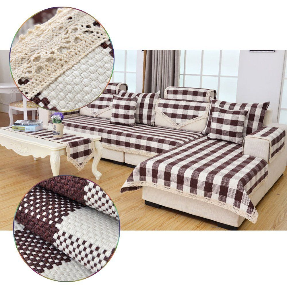 Amazon Com Eleling 1 Pcs 7070cm Sofa Back Towel Cotton Brown