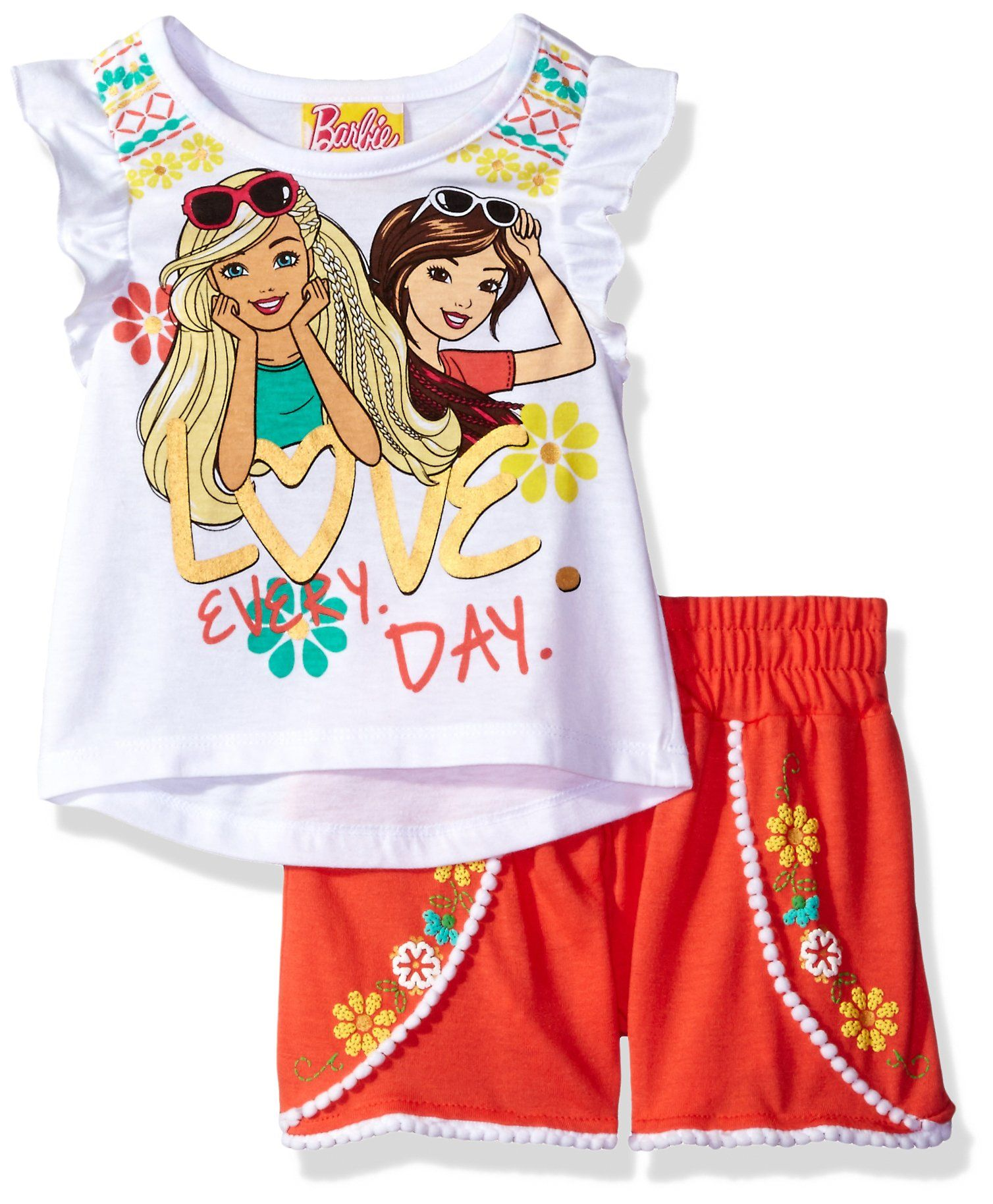 040054e34 Barbie Toddler Girls' 2 Piece Tee and Short Set, White, 4t. Screen ...