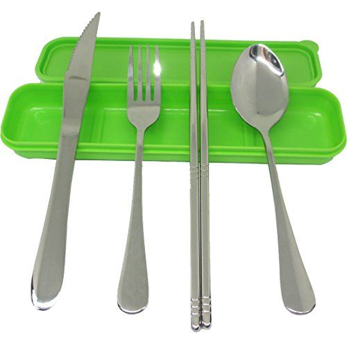 Portable Eating Utensils Cutlery Set Fork Spoon Chopsticks with Storage Case