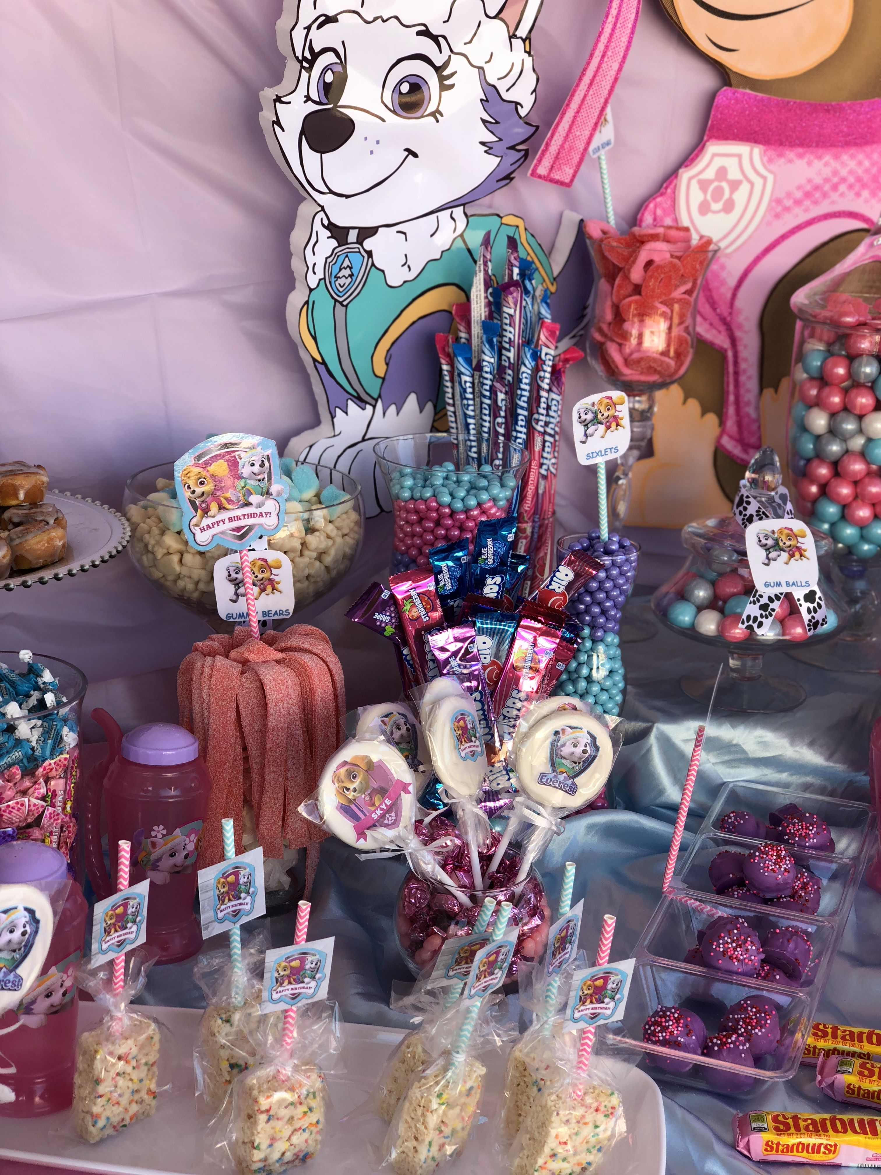 Pink Paw Patrol Girls Candy Buffet Table Candy Buffet Tables Paw Patrol Girl Pink Paws