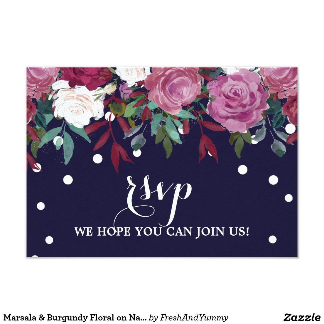 Marsala Burgundy Floral On Navy Menu Choice Rsvp Wedding Rsvp