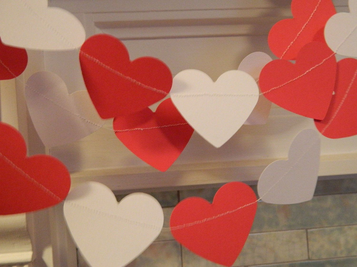 Paper Garland Valentines Day Decor 6ft Red and White Heart Garland Party Decorations Heart Garland Valentines Day Photo Prop. $9.00, via Etsy.