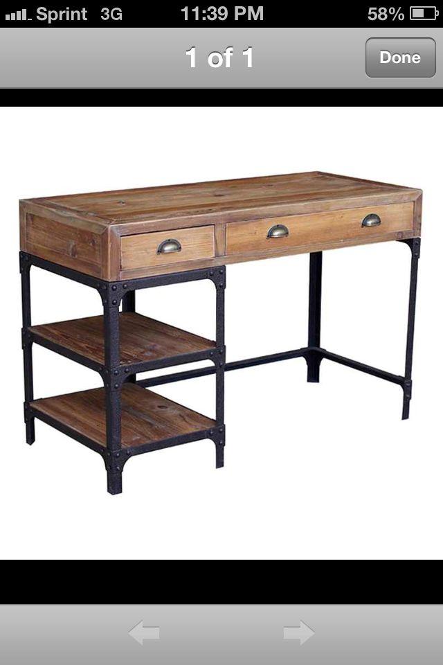 Luca Reclaimed Wood Rustic Iron Industrial Loft Small Desk