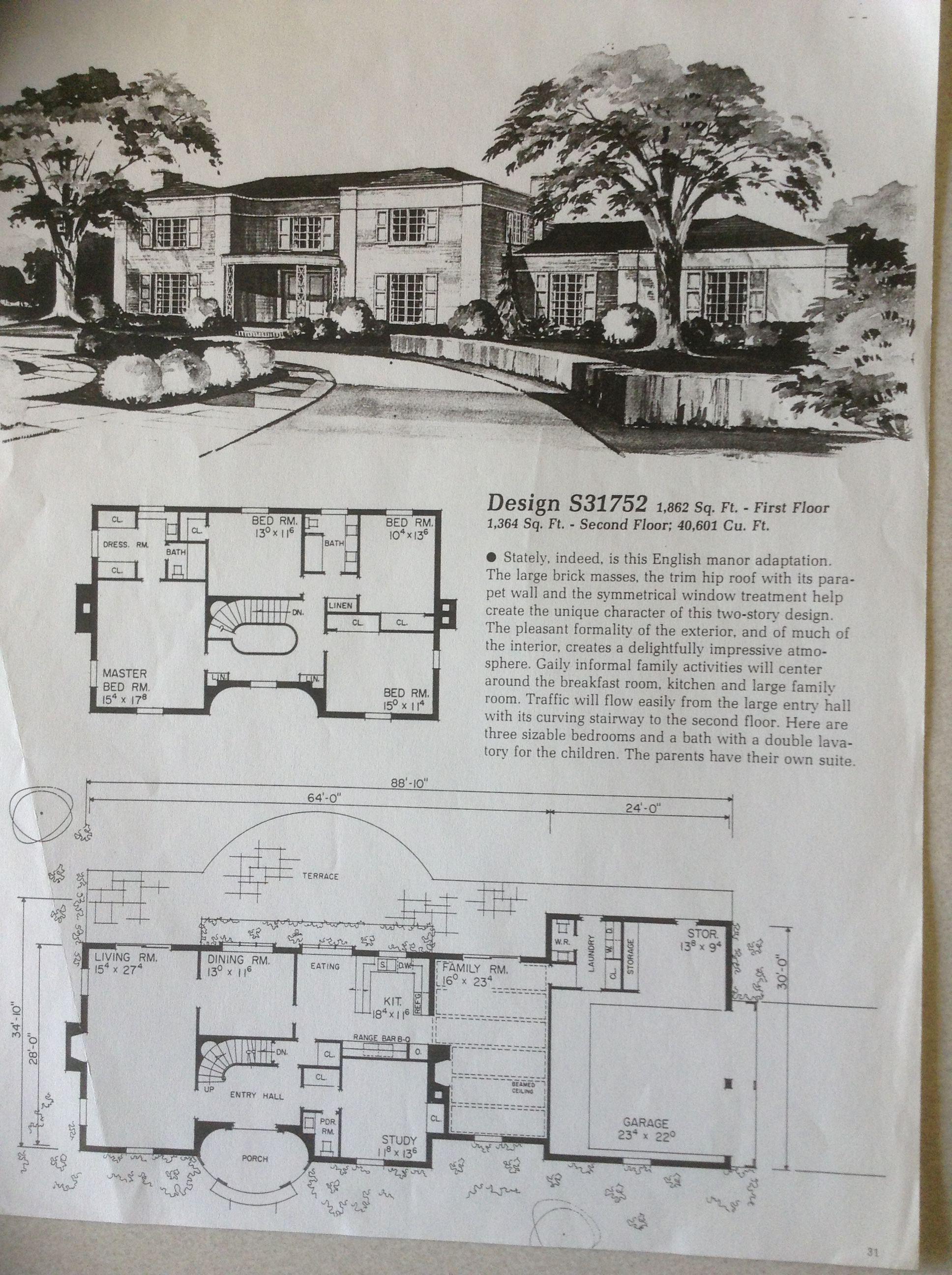 Design S31752 Architectural Floor Plans Vintage House Plans Dream House Plans