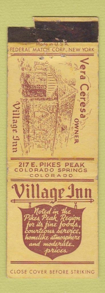 Matchbook Cover Village Inn In Colorado Springs Co Matchbook Village Inn Colorado Village