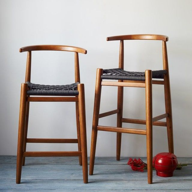 Breathtaking Wooden Counter Stool With Wicker Rope Stool Seats