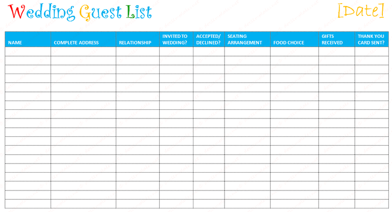 Free Wedding Templates You Can Use To Create Your Guest List