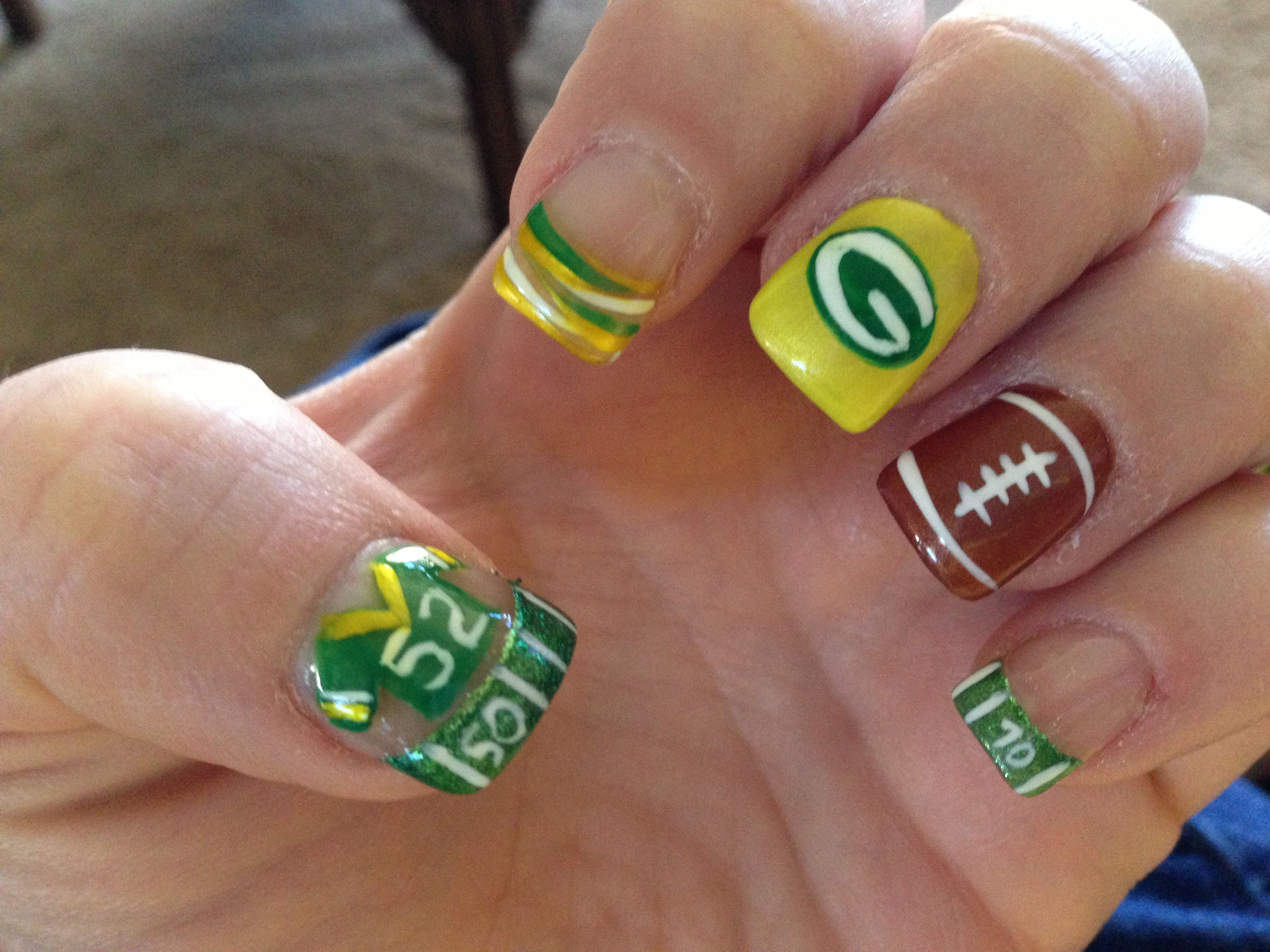 My Nails For Chiefs Game Obviously With Chiefs Colors Lol Sports Nails Football Nails Packer Nails