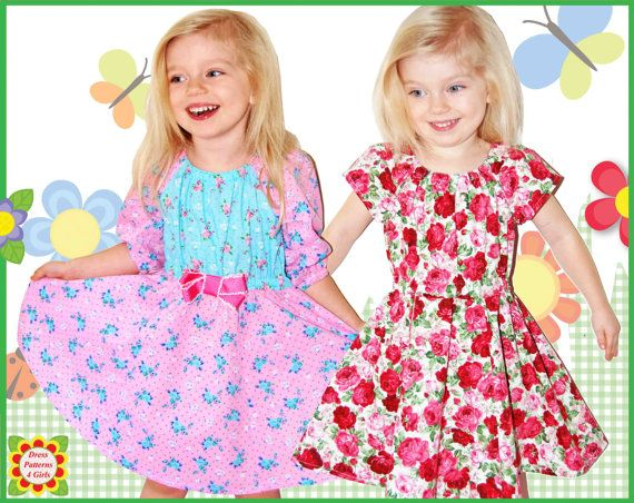 Twirl Flared Girls Peasant Dress Pattern + Free Mother-Daughter ...
