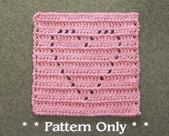 Crochet HEART Pattern for Dishcloth, Wash Cloth, Quilt Block for ...