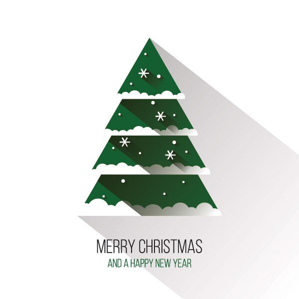 Christmas Graphic.Flat Christmas Tree Vector Graphic Happy Holidays Long