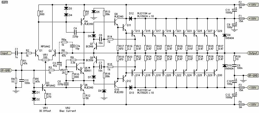 1500W Power Amplifier - Schematic Design | apli 1500w | Pinterest ...