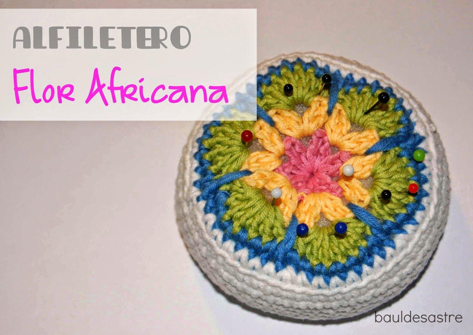 Baúl Desastre: Tutorial. Alfiletero Flor Africana a Crochet ...