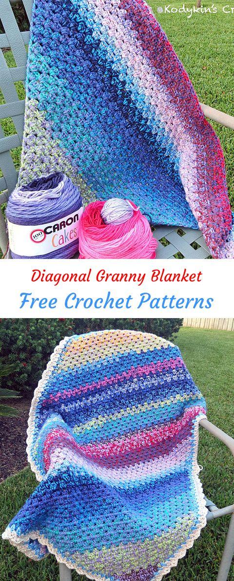 Diagonal Granny Blanket Free Crochet Pattern #crochet #crafts ...