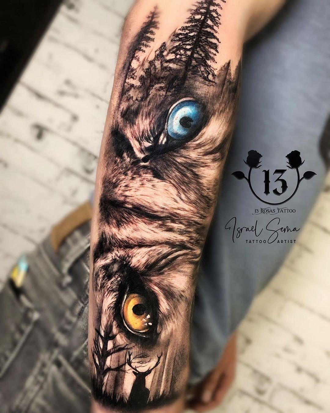 Animal Eyes Tattoo : animal, tattoo, Tattoo, Tattoo,, Forearm,, Animal, Sleeve
