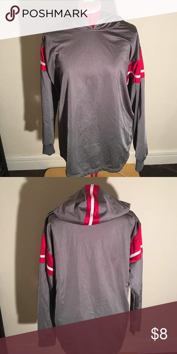 Mens Pullover Hoodie Thin material, no pockets, red and white stripe design around shoulders and up hood. Shirts Sweatshirts & Hoodies