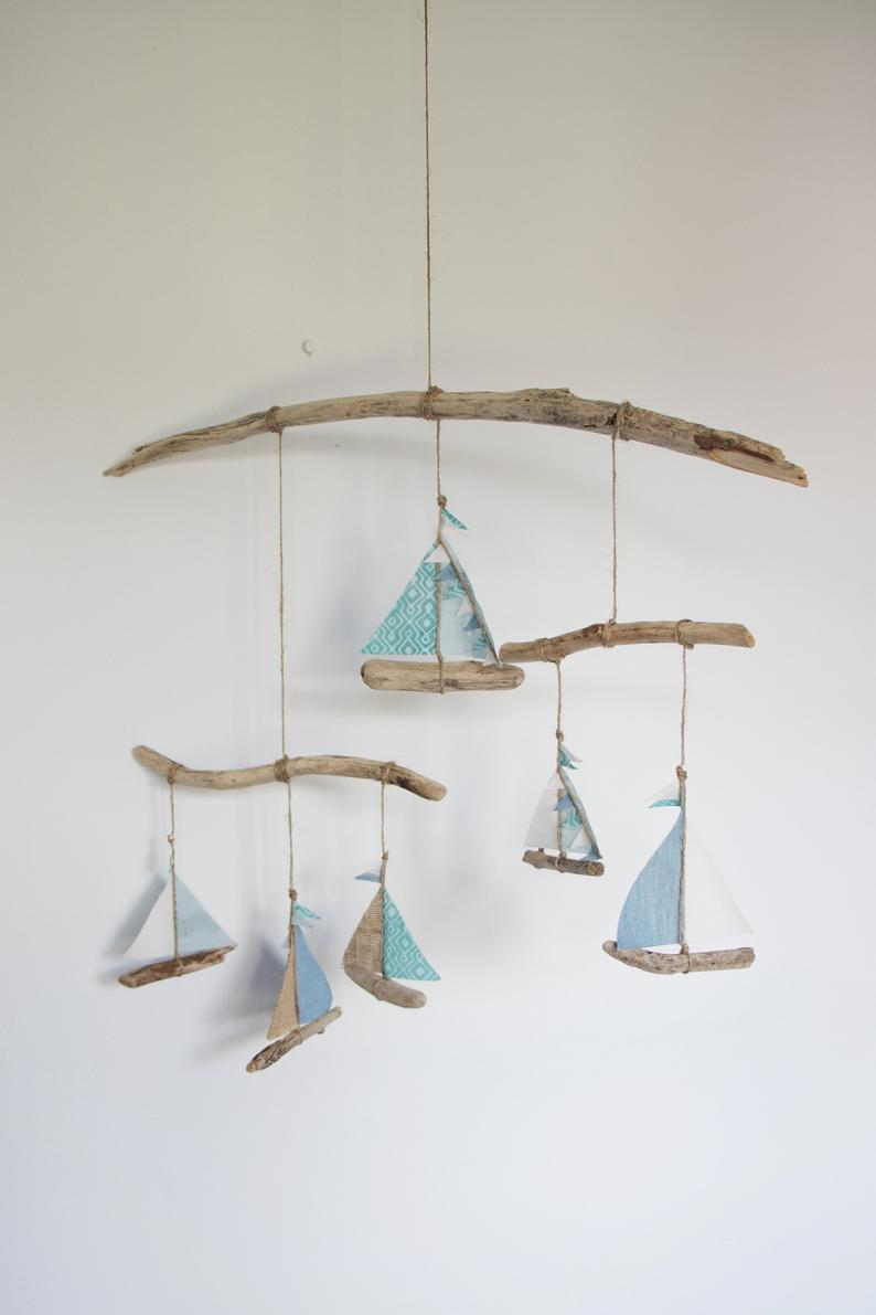 Photo of Driftwood boat mobile 'Teal' – Nursery mobile, Nautical, Baby shower gift, New baby gift, Birthday gift, Upcycled, Valentines gift