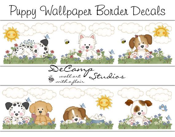 Puppy Dog Wallpaper Border for baby boy or girl nursery and children's room decor #decampstudios