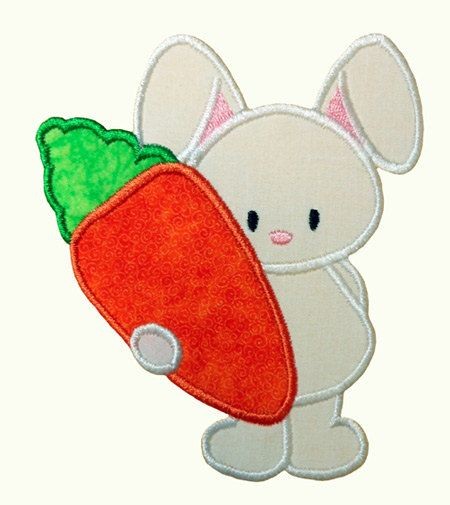Bunny Holding Carrot Applique Embroidery Machine Design | Pinterest ...