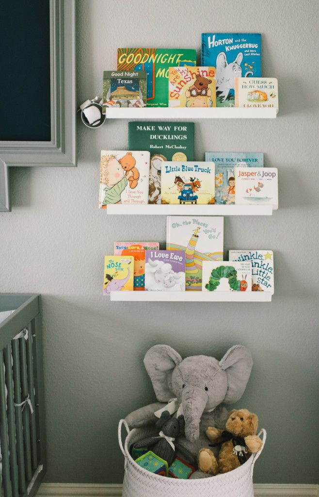 Simple Library Wall With Ikea Picture Ledges Makes For A Clean Design In The Nursery