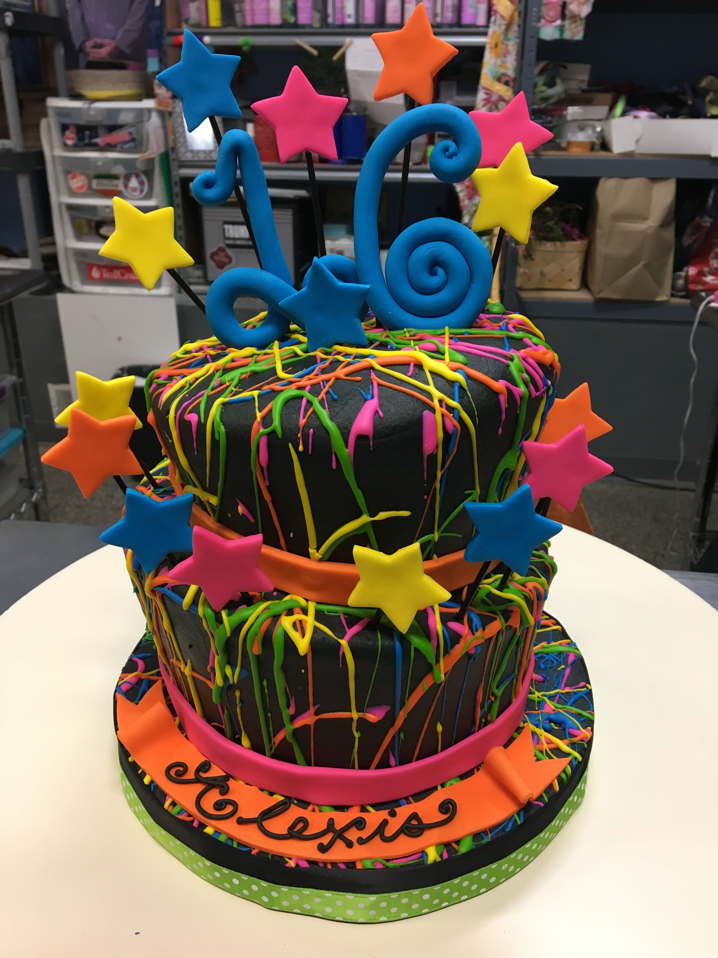 Remarkable Neon Splatters And Stars Birthday Cake Adrienne Co Bakery Funny Birthday Cards Online Fluifree Goldxyz