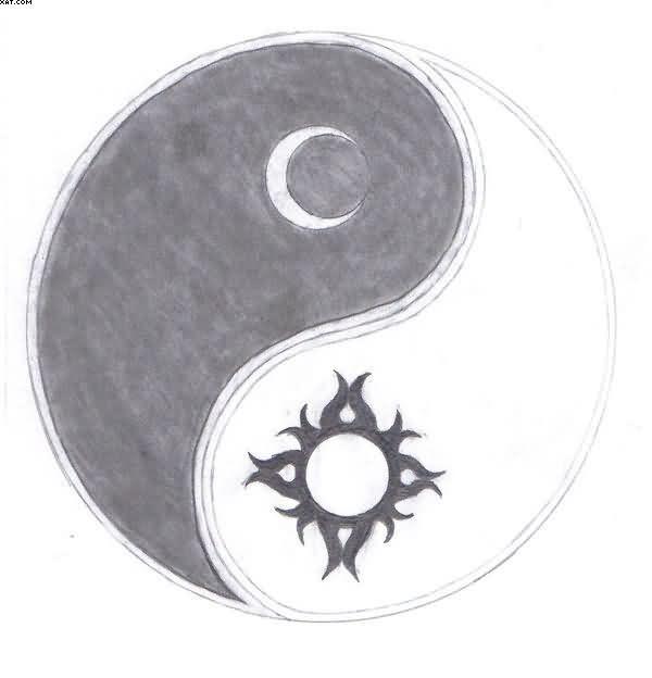 Sun Moon Yin Yang Tattoo Sketch Tattoo Ideas