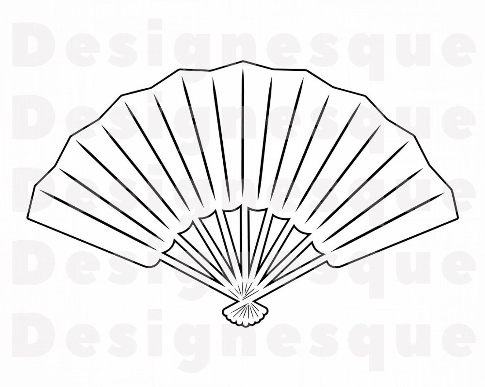 Folding Hand Fan Outline Svg Hand Fan Svg Hand Fan Clipart Etsy Hand Fan Folding Hand Fan Fan Drawing