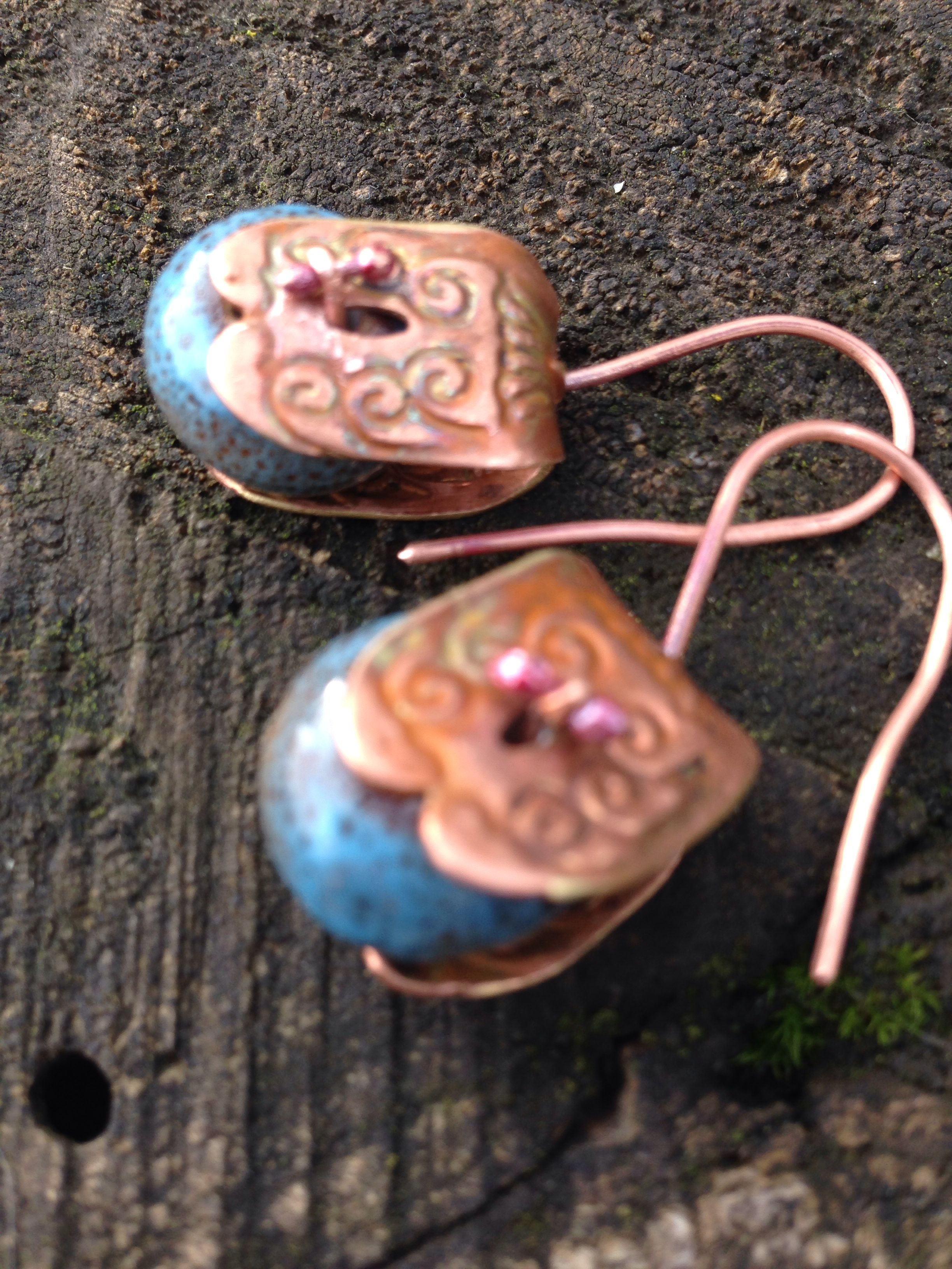 Inv. #34, Copper etched stirrups, ceramic rondelle beads, balled 20 g copper.