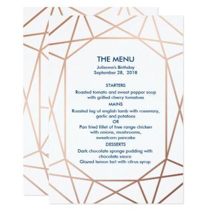 Elegant Rose Gold Navy Blue Geometric Menu Invitation Birthday
