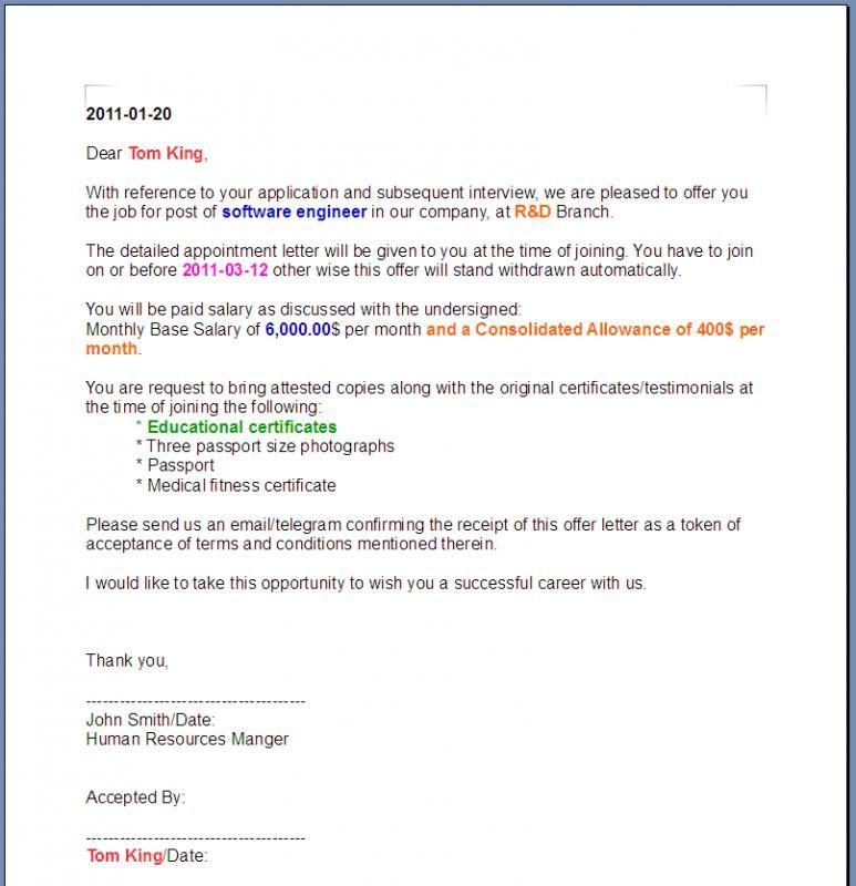 offer letter format check more at httpsnationalgriefawarenessdaycom13758