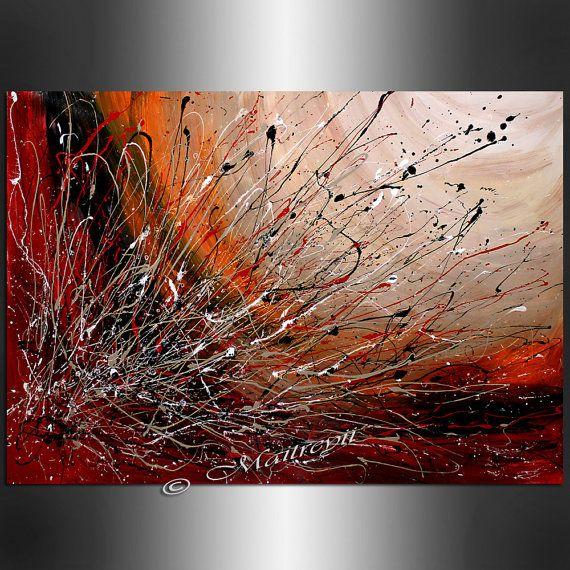 Rote gro e artwork abstrakte malerei abstrakte von - Peinture tactile on off ...