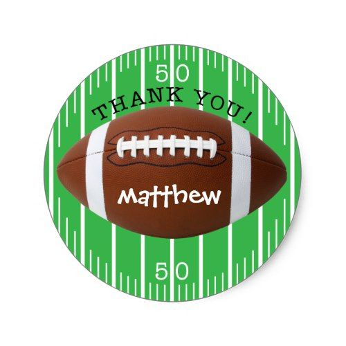 Personalized Thank You Football Sticker Sports Birthday Party