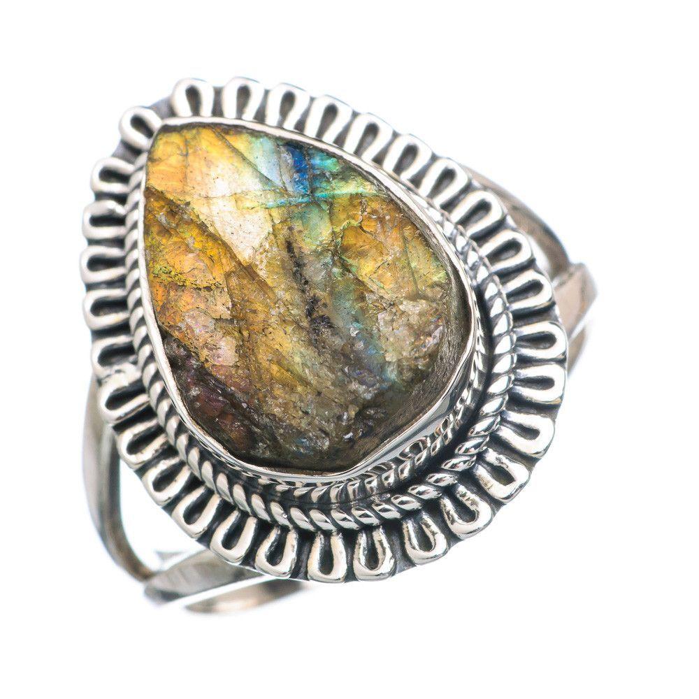 Rough Labradorite 925 Sterling Silver Ring Size 8 RING737964