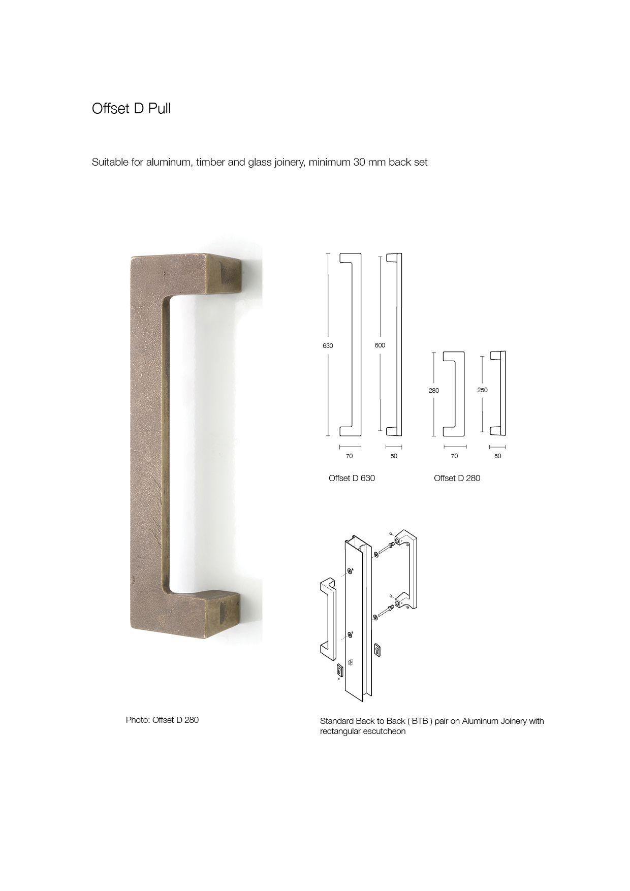 Offset D Pull bronze door handle made by Black Sand Bronze ...