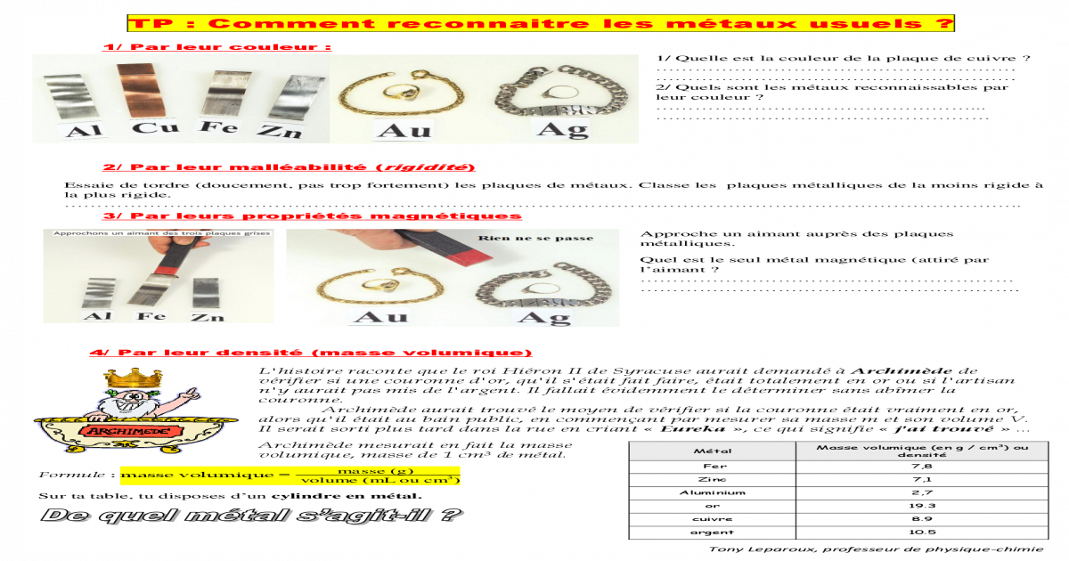 Tp Comment Reconnaitre Les Metaux Us Tony Leparoux Professeur De Physique Chimie Tp Comment Physique Chimie Chimie Professeur