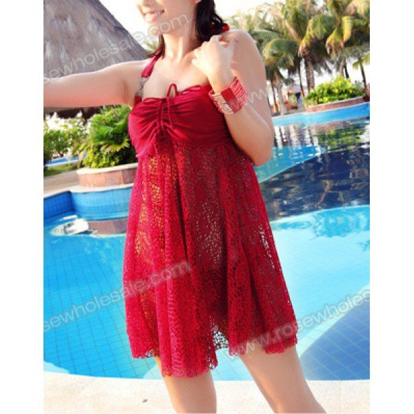 Solid Color Halter Neck Hollow Out Design Ruched Three-Piece Swimwear For Women