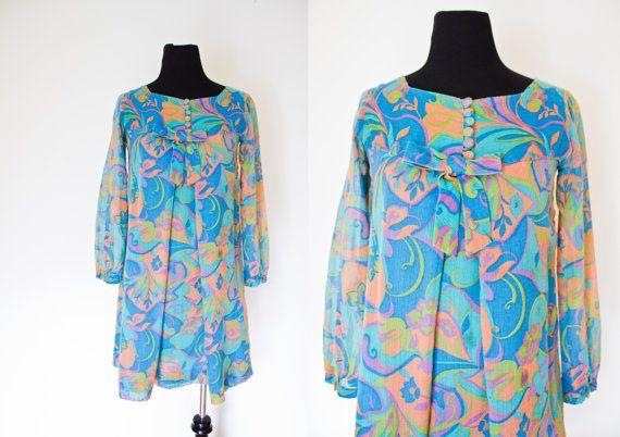Vintage 1960s Dress  Colorful Cotton by dejavintageboutique