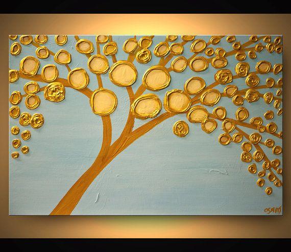 ORIGINAL pintura contemporánea floración oro por OsnatFineArt