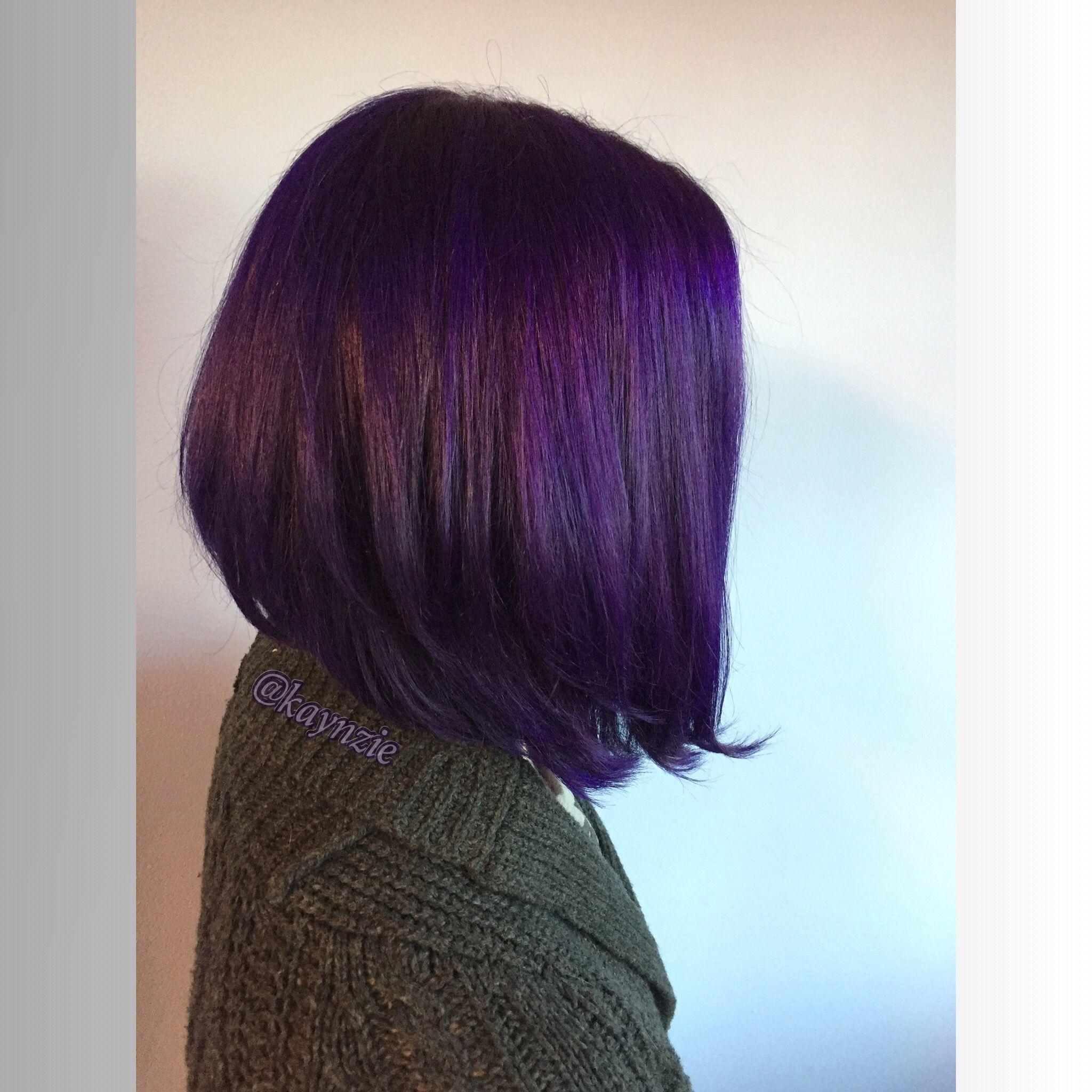 cute short layered bob haircut custom deep dark purple plum color