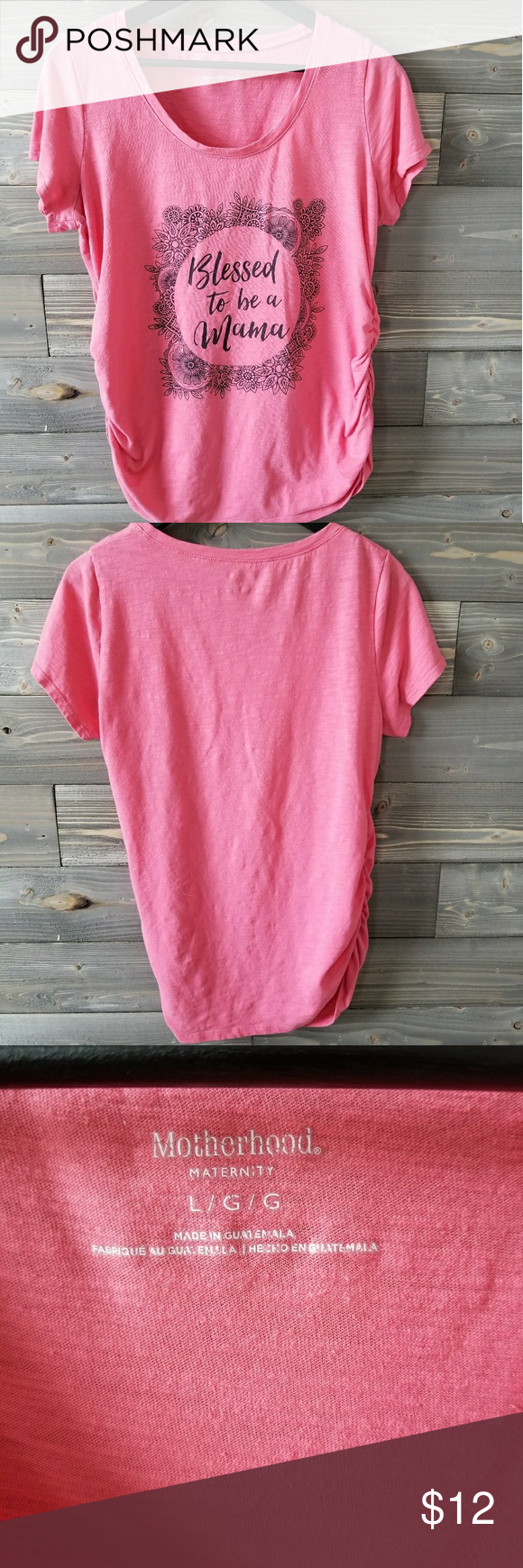 "Motherhood Maternity top size L. Soft cotton tee shirt form Motherhood Maternity size L. Nice pink color, with ""Proud to be a mama"" printed on the front in black. Motherhood Maternity Tops Tees - Short Sleeve"