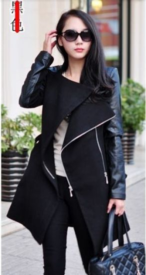 Long Black Leather Trench Niiiiice Coat Sleeve Contrast Belt vfqHwCOx