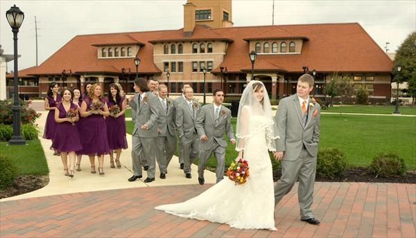 gray suits and purple dresses