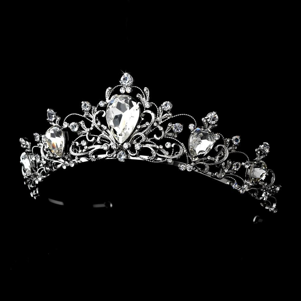 Antique Rhodium Silver Quinceanera Tiara Clear Rhinestone Crown Headpiece - 1